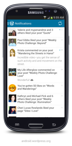 New on WordPress for Android: Notifications